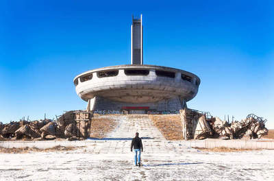 Unusual monument machines on top Balkan Mountains