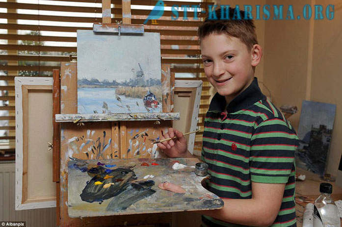 12-year-old genius boy parents bought a house near the lake on the earned money for his paintings