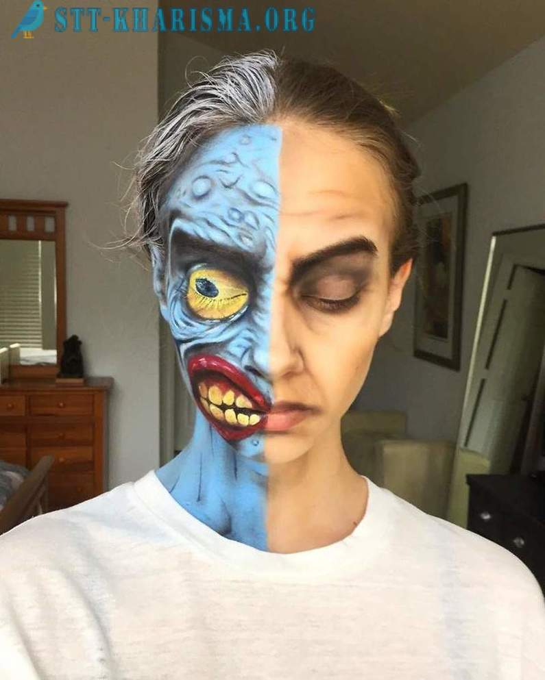 15-year-old girl demonstrates the art of make-up and make-up is far from many adults